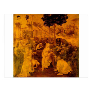 Verehrung der Weisen durch Leonardo da Vinci Postkarte