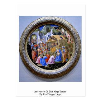 Verehrung der Weisen Tondo durch Fra Filippo Lippi Postkarte