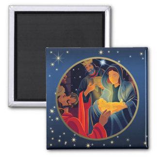 Verehrung der Weisen. Weihnachtsgeschenk-Magneten Quadratischer Magnet