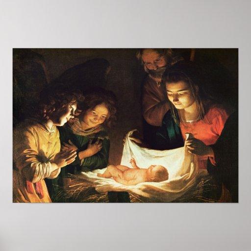 Verehrung des Babys, c.1620 Plakat