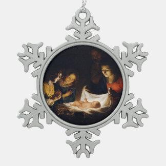 Verehrung von Child Adorazion Del Bambino Schneeflocken Zinn-Ornament