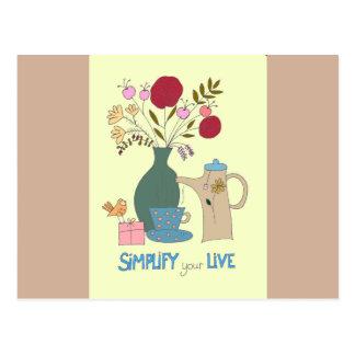 Vereinfachen Sie Ihre Lebenzitatpostkarte Postkarte