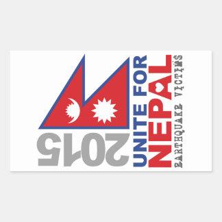 Vereinigen Sie für Nepal-Erdbeben-Entlastung Rechteckiger Aufkleber