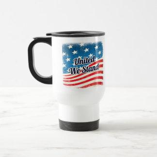 Vereinigt stehen wir amerikanische Flagge Reisebecher