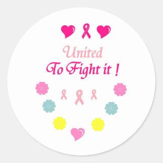 Vereinigt zum Kampf-Brustkrebs Runder Aufkleber