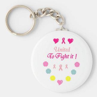 Vereinigt zum Kampf-Brustkrebs Standard Runder Schlüsselanhänger