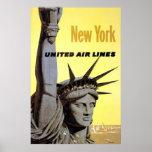 Vereinigte Luftverkehrslinien New York Freiheitsst Plakatdruck