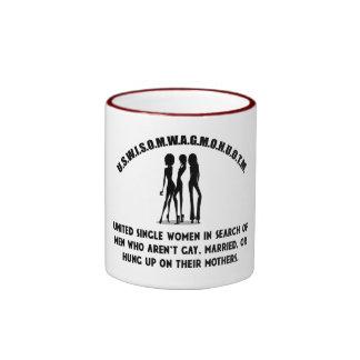 Vereinigte Single-Frauen - Single-lustiges Shirt Ringer Tasse