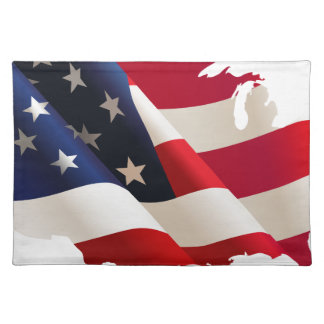 Vereinigte Staaten bewegen Flagge wellenartig Tischset