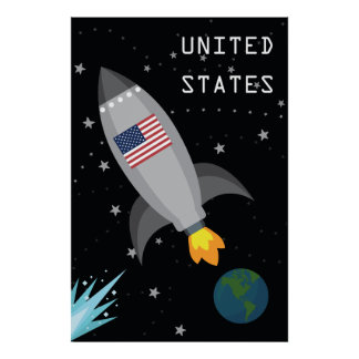 Vereinigte Staaten kennzeichnen Rocket-Schiff Poster