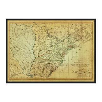 Vereinigte Staaten Nordamerika u. Louisiana-Karte Leinwanddruck