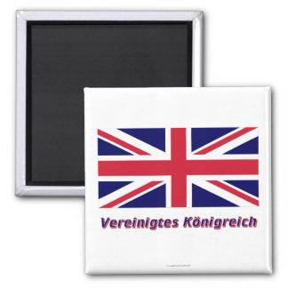 Vereinigtes Königreich Flagge MIT Namen Quadratischer Magnet