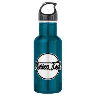 Verfasser-Felsen-Kreis-Logo Schwarz-weiß Trinkflasche