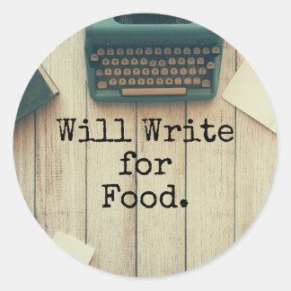 Verfasser schreibt für Nahrung Runder Aufkleber
