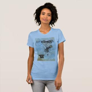 Verfasser-T-Shirt - Fliege mit Wörtern T-Shirt