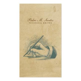 Verfasser-Vintage Stift-Handcooles einfaches Visitenkarten Vorlagen