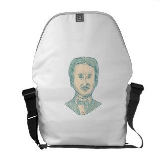 Verfasser-Zeichnen Edgar Allan Poe Kuriertasche
