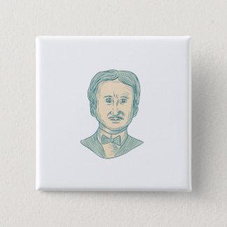 Verfasser-Zeichnen Edgar Allan Poe Quadratischer Button 5,1 Cm