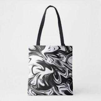 Verflüssigtes Schwarz-weißes Marmormuster, Tasche