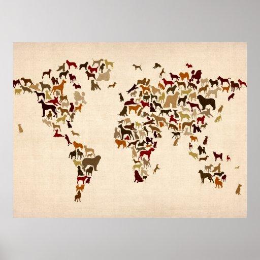 Verfolgt Karte der Weltkarte Poster