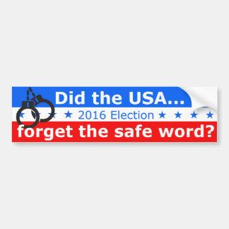 Vergaßen die USA das sichere Wort? Autoaufkleber