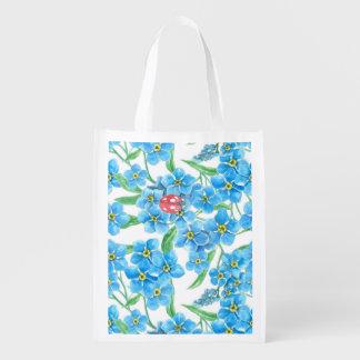 Vergessen Sie mich nicht nahtloses Blumenmuster Wiederverwendbare Einkaufstasche