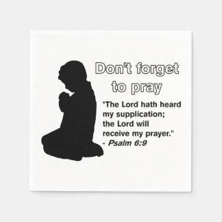 Vergessen Sie nicht, (betende Silhouette-) Serviette