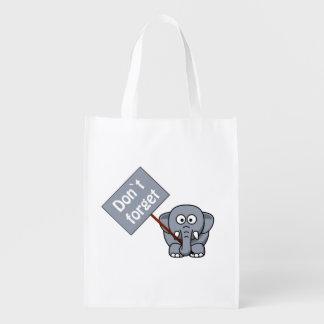 Vergessen Sie nicht Elefant-wiederverwendbare Wiederverwendbare Einkaufstasche