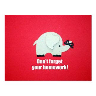 Vergessen Sie nicht Ihre Hausaufgaben! Postkarte