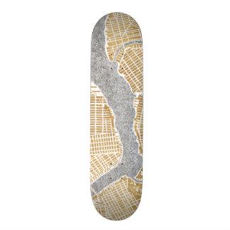 Vergoldete Stadt-Karte von New York 21,6 Cm Skateboard Deck