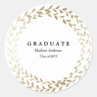 Vergoldeter Abschluss-Aufkleber des Wreath-| Runder Aufkleber