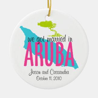 Verheiratet in Aruba-Verzierung Rundes Keramik Ornament