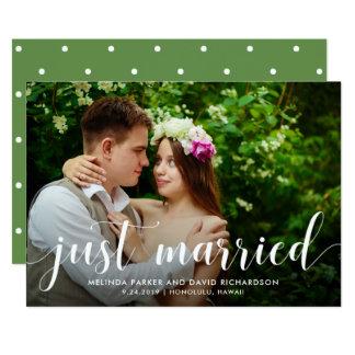 Verheiratete Foto-Mitteilung des Chic-Grün-  12,7 X 17,8 Cm Einladungskarte