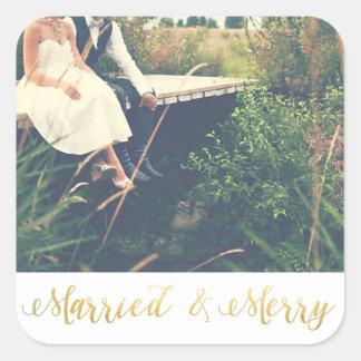 Verheiratete u. frohe | erste Weihnachten Quadratischer Aufkleber