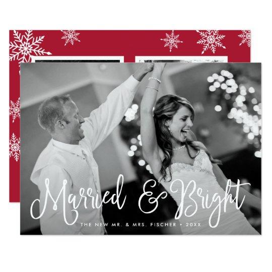 Verheiratete u. helle Feiertags-Foto-Karte + Karte