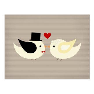 Verheiratete zitronengelbe Vögel Postkarte