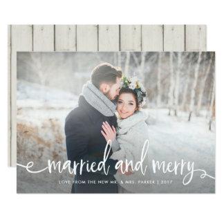 Verheiratetes und fröhliches | modernes rustikales karte