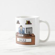 Verkäufe beruflich - personalisierte Cartoon-Tasse