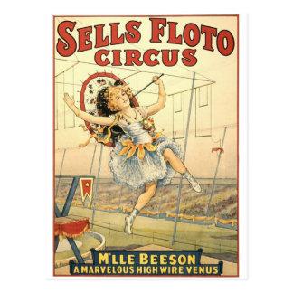 Verkäufe Floto Zirkus M'lle Beeson Postkarte
