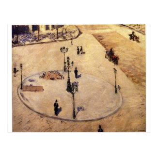 Verkehrsinsel auf Boulevard Haussmann durch Postkarte