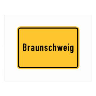 Verkehrsschild Braunschweigs, Deutschland Postkarte