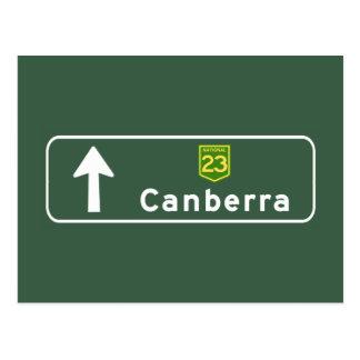 Verkehrsschild Canberras, Australien Postkarte