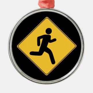 Verkehrsschild - Läufer Rundes Silberfarbenes Ornament