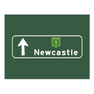 Verkehrsschild Newcastles, Australien Postkarte