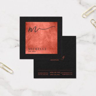 Verkratzte Metallquadrat-Monogramm-Lachse ID449 Quadratische Visitenkarte