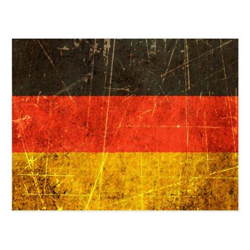 Verkratzte und getragene Vintage deutsche Flagge Postkarte