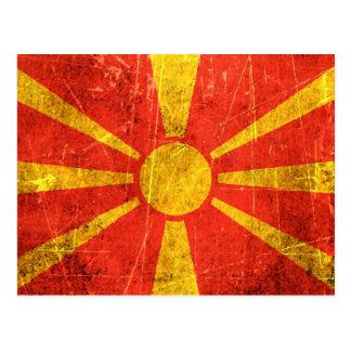 Verkratzte und getragene Vintage mazedonische Postkarte