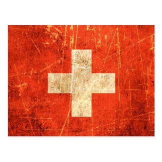 Verkratzte und getragene Vintage Schweizer Flagge Postkarte