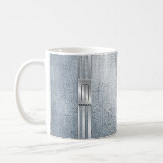 Verkratztes Metall Stripes Monogramm blaues ID443 Kaffeetasse