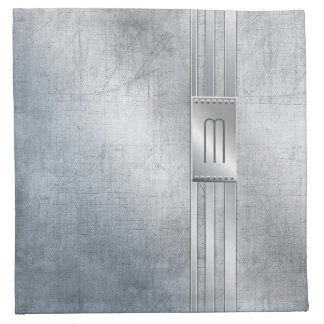 Verkratztes Metall Stripes Monogramm blaues ID443 Serviette